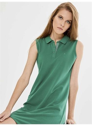 Xint XINT Polo Yaka Kolsuz Pamuklu Basic Elbise Yeşil